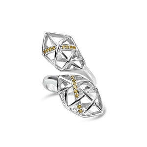 White Gold Plated Citrine Helical Ring