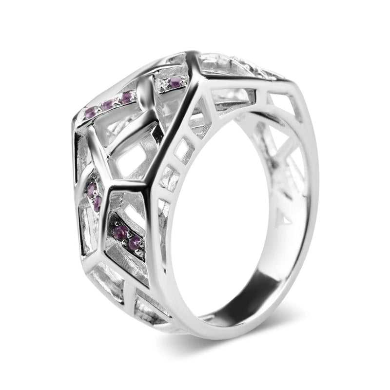 White Gold Plated Crossover Amethyst Ring