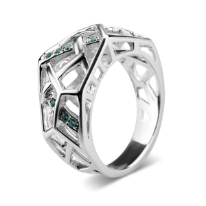 White Gold Plated Crossover Topaz Ring