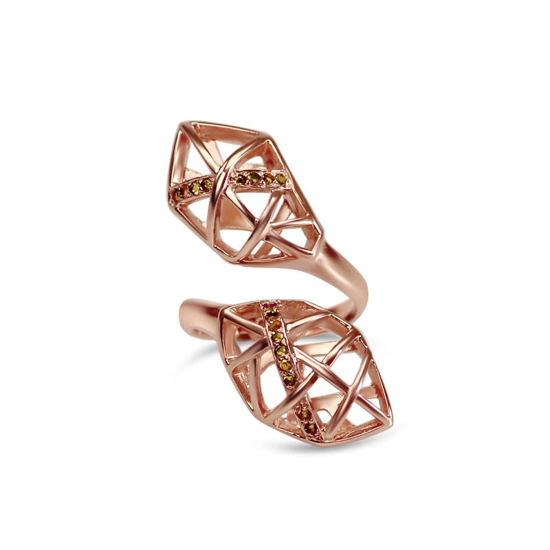 Rose Gold Plated Citrine Helical Ring