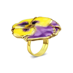 Gold Plated Natural Pansy Ring