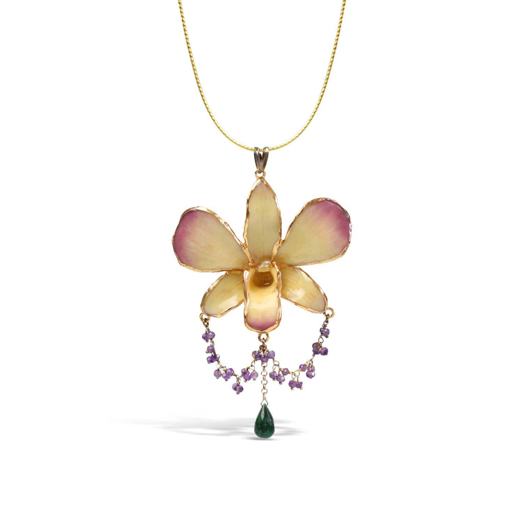 Natural Orchid Amethyst and Emerald Necklace