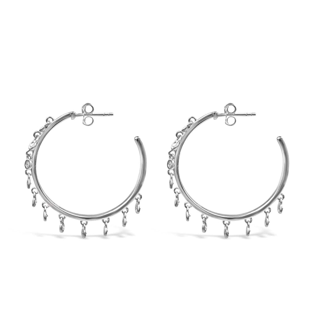 Sterling Silver Dangle Hoop Earrings