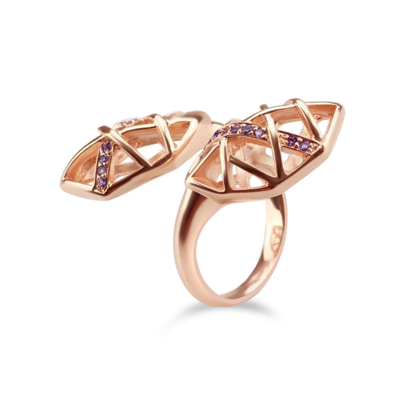 Rose Gold Plated Amethyst Helical Ring