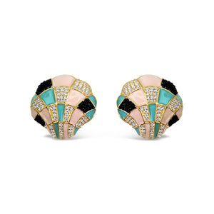 Sterling Silver Enamel Shell Earrings