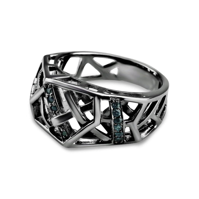 Rhodium Plated Crossover Topaz Ring