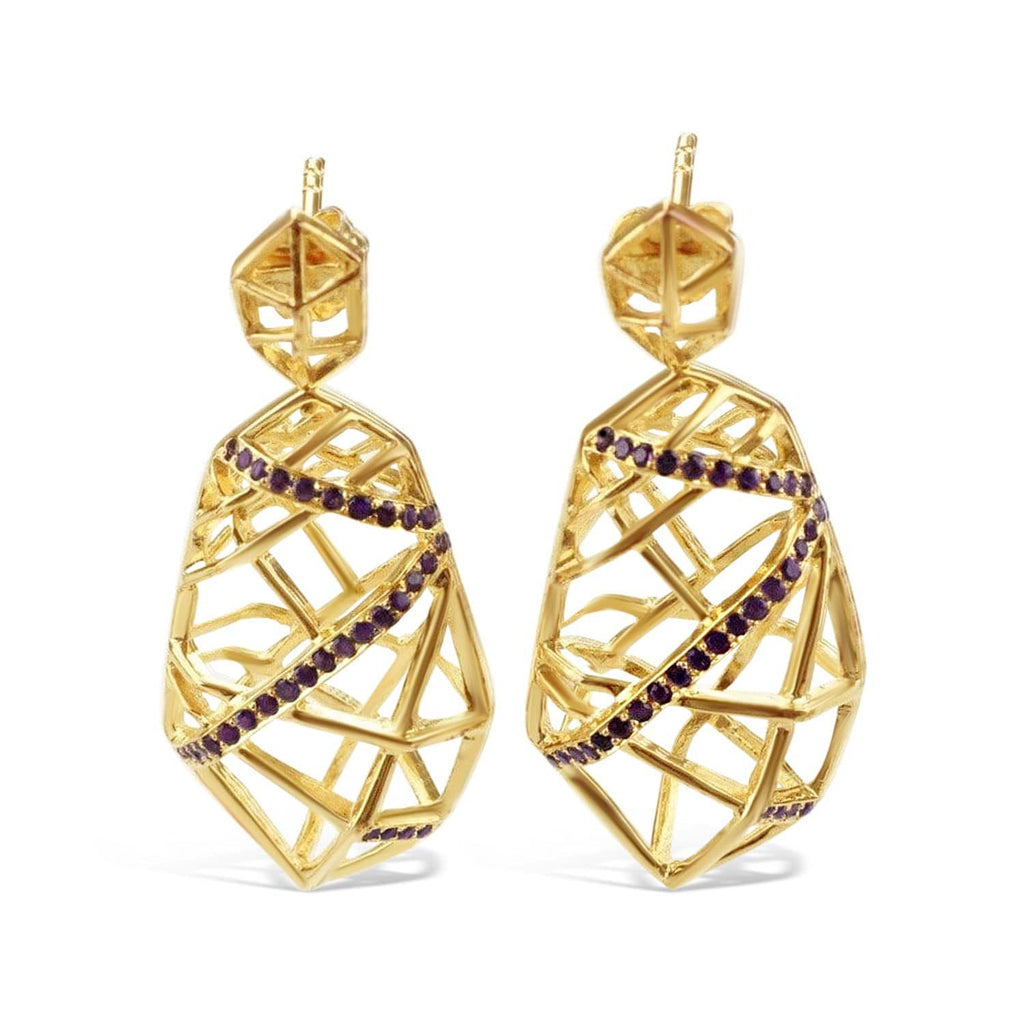 Gold Plated Crossover Amethyst Earrings