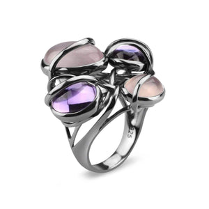 Rhodium Plated Multiple Stone Cocktail Ring