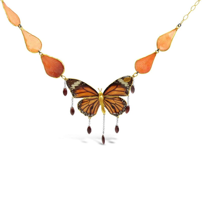 Rose Petals and Butterfly Necklace
