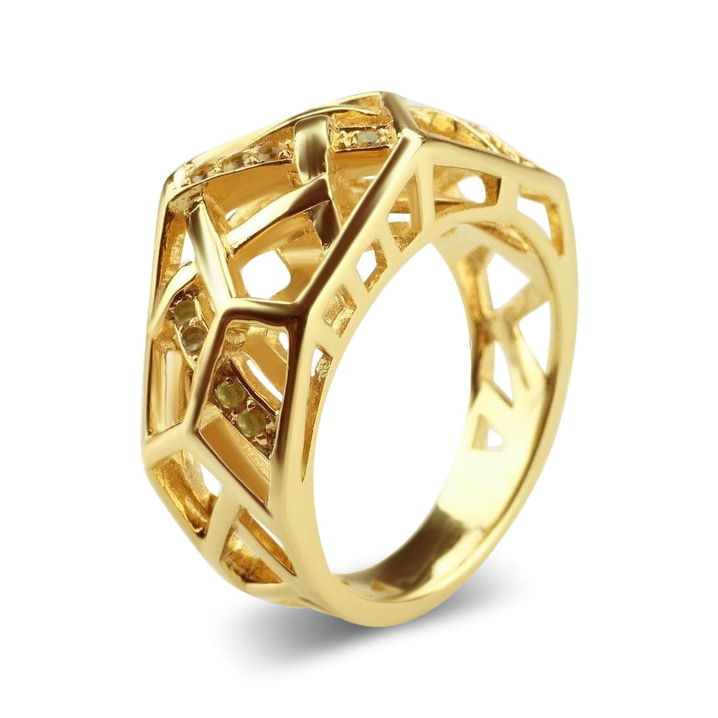 Gold Plated Crossover Citrine Ring