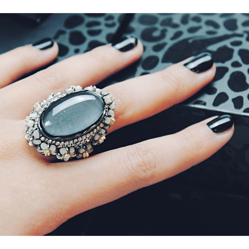 Sterling Silver Hematite Cocktail Ring