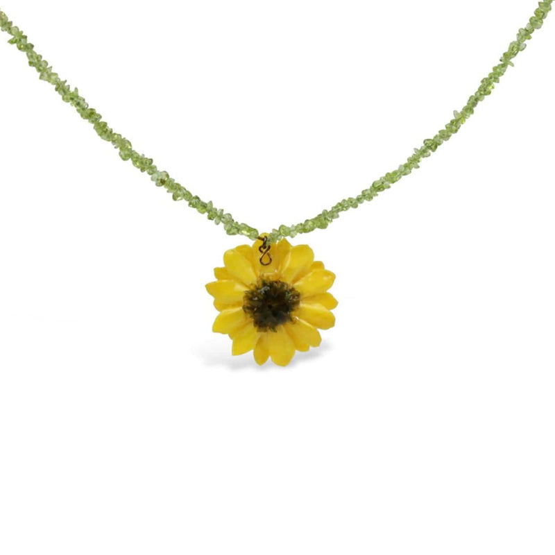 Natural Yellow Daisy Peridote Necklace