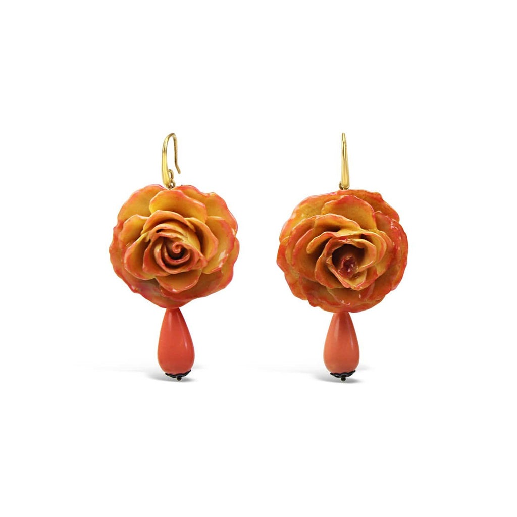 Natural Rose and Coral Earrings