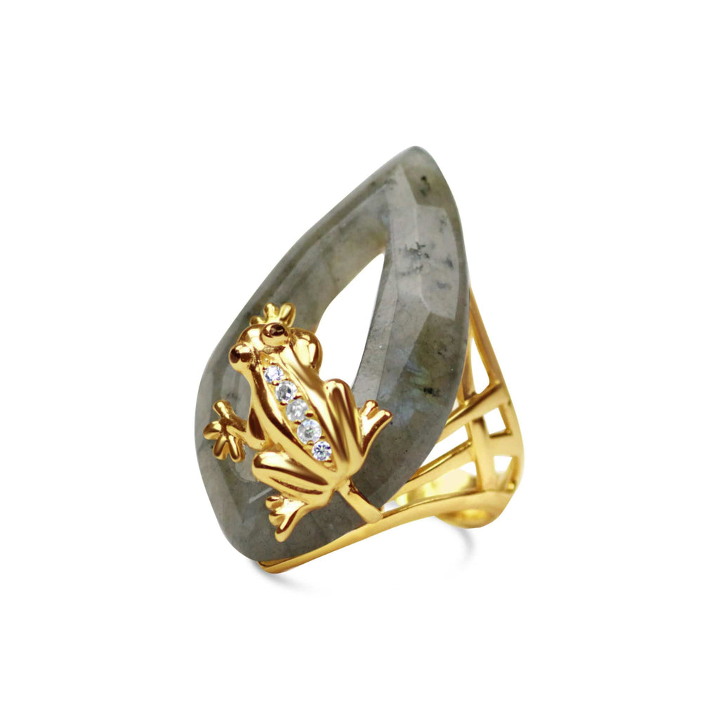 Gold Plated Labradorite Frog Ring