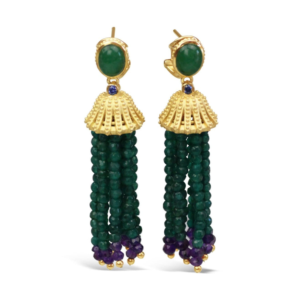 Sterling Silver Green Agate Tassel Earrings