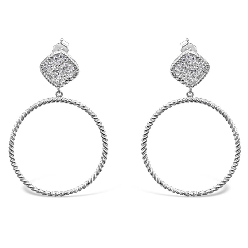 Sterling Silver Zirconia Hoop Earrings