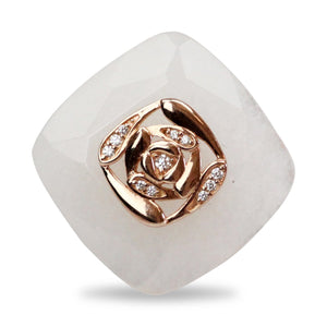 Gold Plated White Onyx Ring