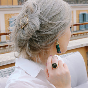 Cocktail Jewelry, Gold Plated Obsidian Cocktail Ring