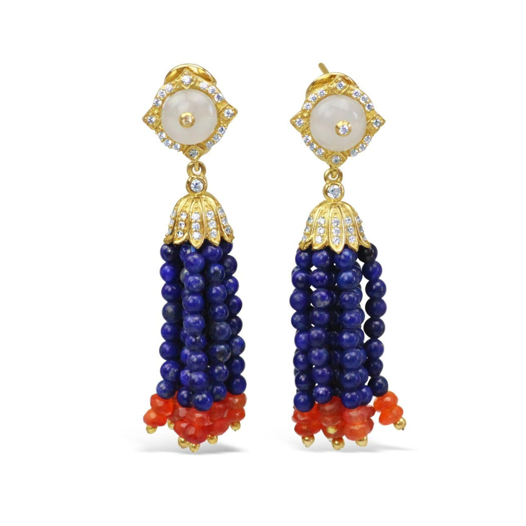 Gold Plated Lapis Tassel Earrings