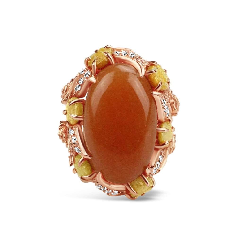 Gold Plated Aventurine Cocktail Ring