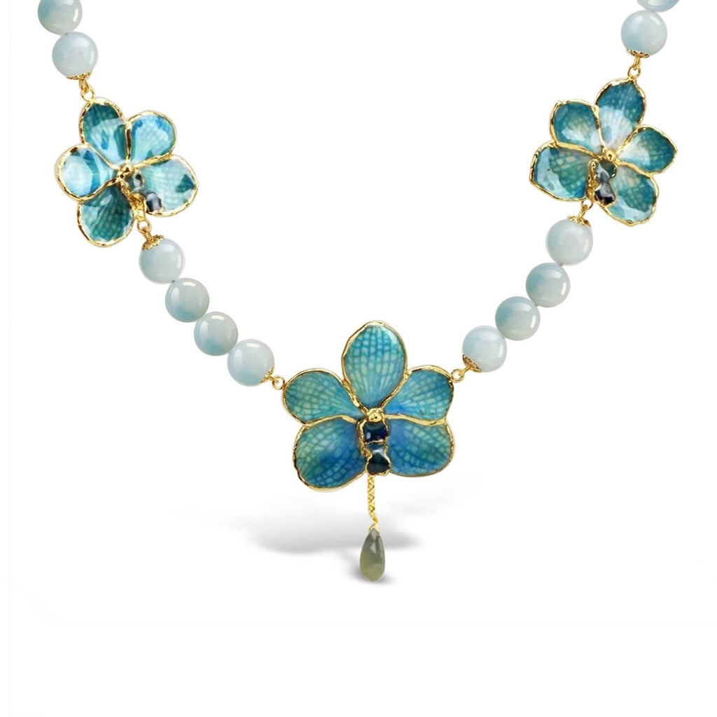 Natural Orchids and Aquamarine Necklace