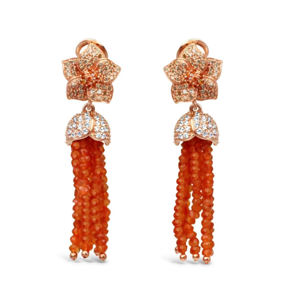 Sterling Silver Orange Agate Tassel Earrings