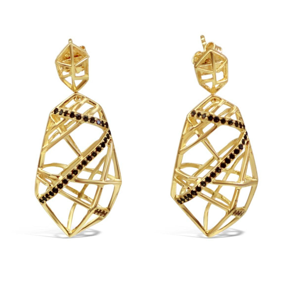 Gold Plated Crossover Quartz Earrings