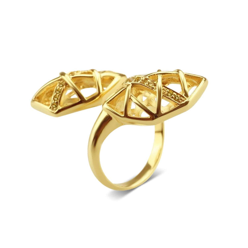 Gold Plated Citrine Helical Ring