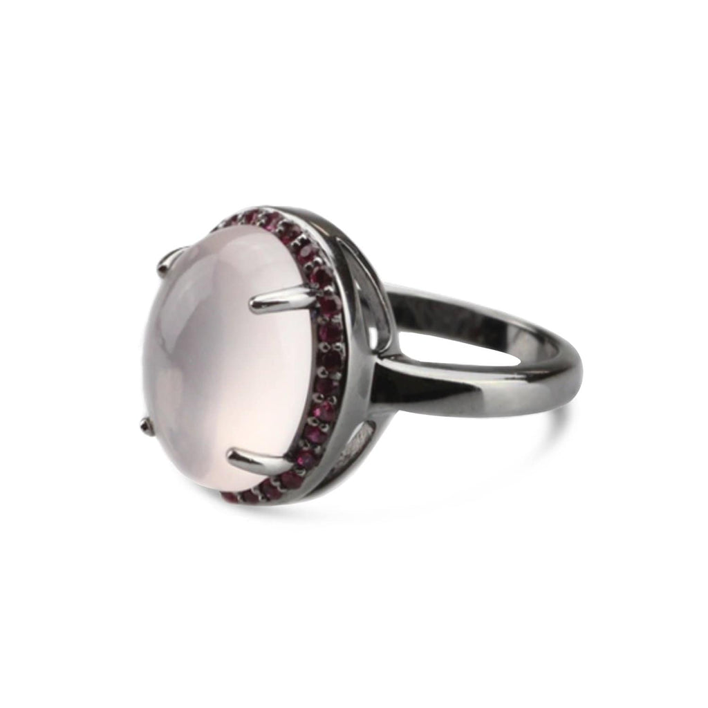 Rhodium Plated Quartz Oval Ring