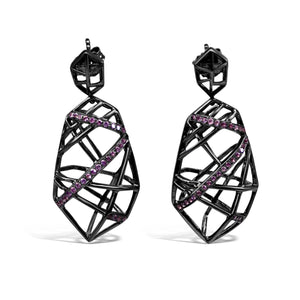 Rhodium Plated Amethyst Crossover Earrings