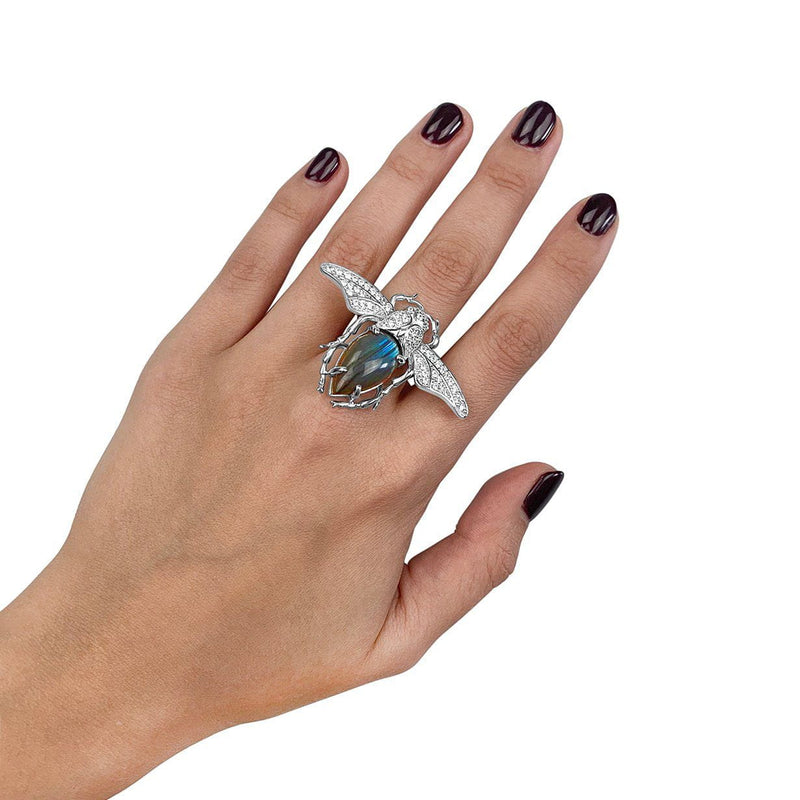 Sterling Silver Labradorite Bug Ring