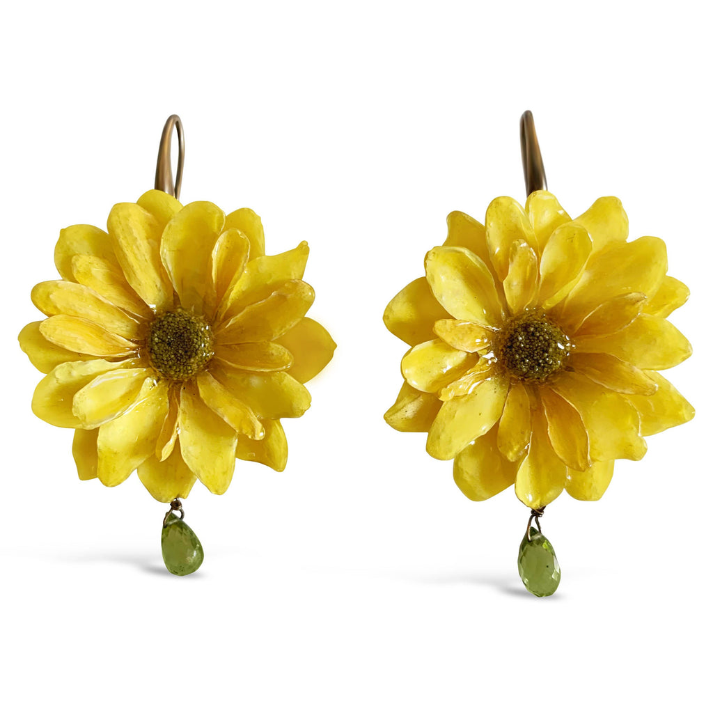 Natural Yellow Daisy Earrings