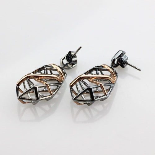 Silver 925 Hexa earrings plated with black rhodium and pink gold