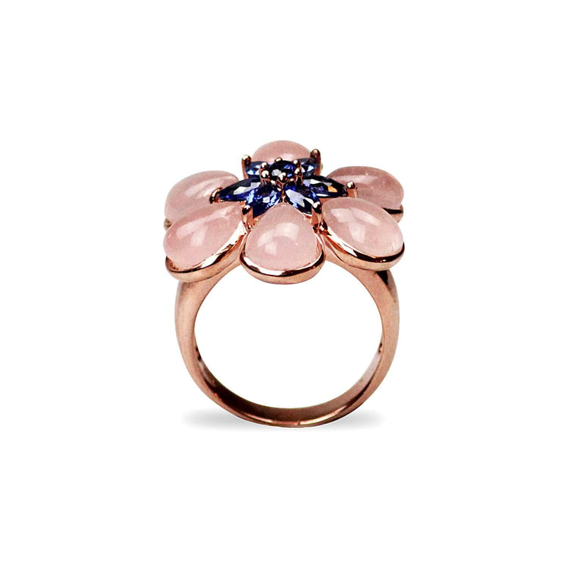 Gold Plated Quartz Flower Ring