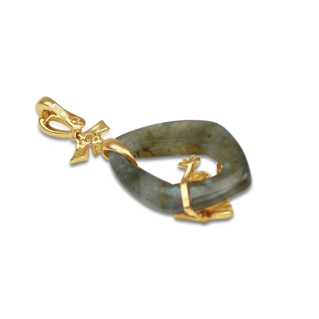 Gold Plated Labradorite Frog Pendant