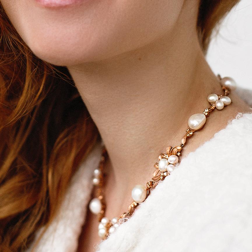 Gold Plated Freshwater Pearls Necklace Wedding necklace