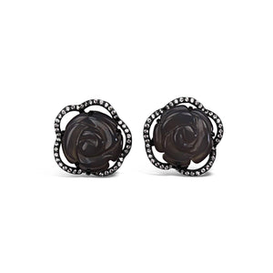 Sterling Silver Grey Agate Rose Earrings