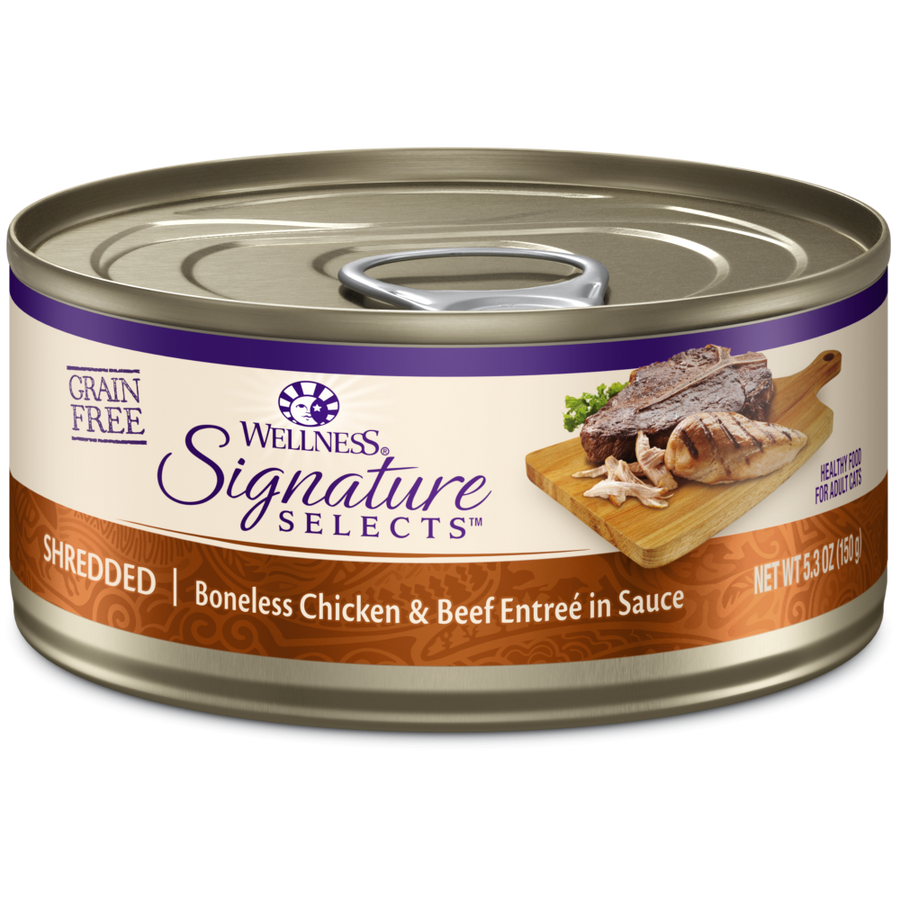 Wellness Signature Selects Grain Free Natural White Meat Chicken and Beef Entree in Sauce Wet Canned Cat Food