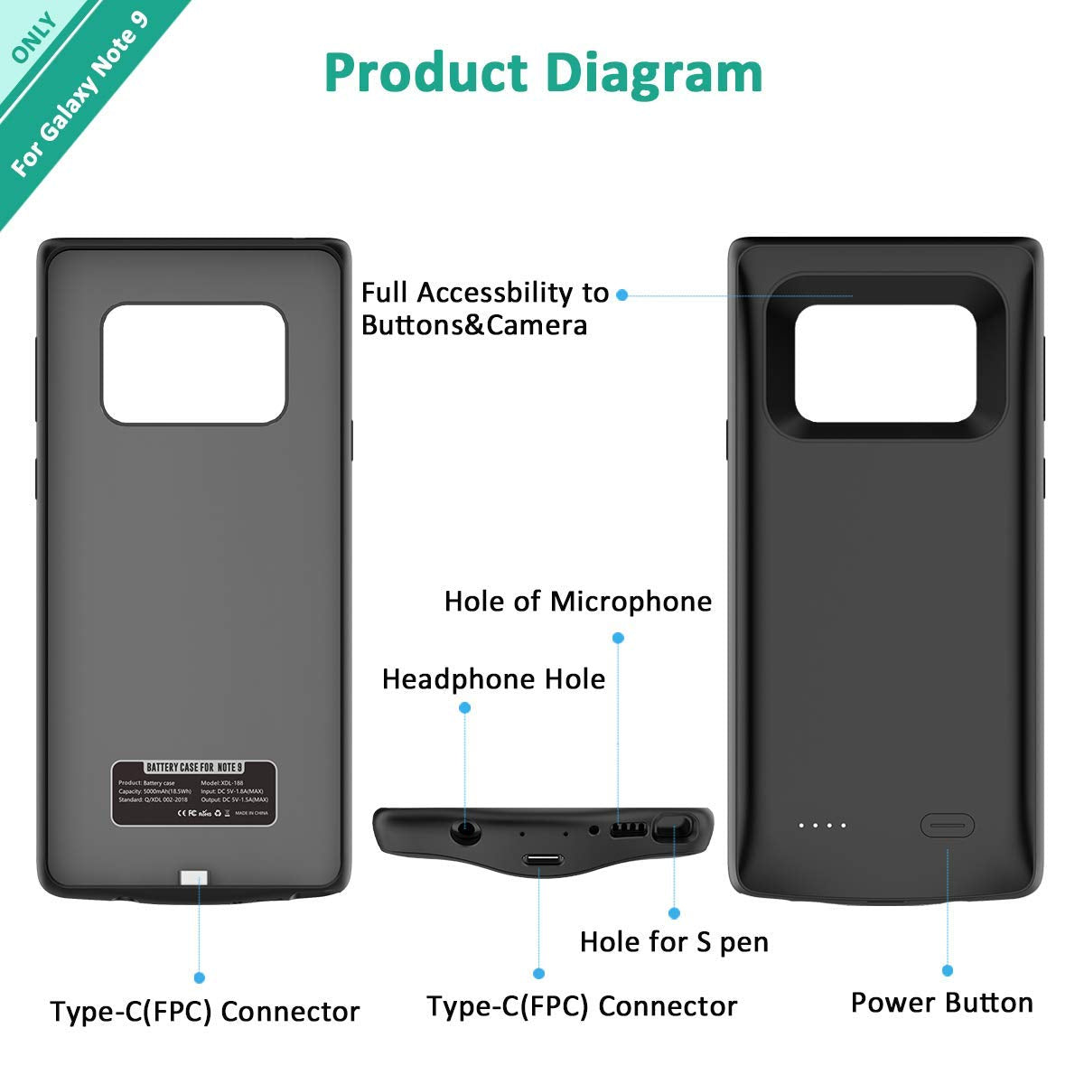 quality design aaf49 597cd Note 9 Battery Case by Fiora™ Slim Samsung Galaxy Note 9 Charging ...