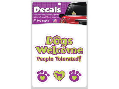 Dogs Welcome People Tolerated Decal Sheet