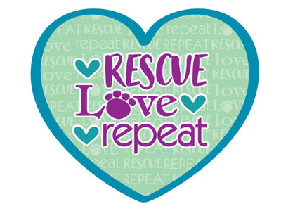 "Rescue Love Repeat 3"" Decal"