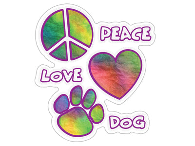 "Peace Love Dog 3"" Decal"