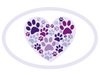 Oval Car Magnet - Heart with Paws
