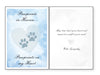 Pet Sympathy Card - Pawprints In Heaven... Pawprints On My Heart