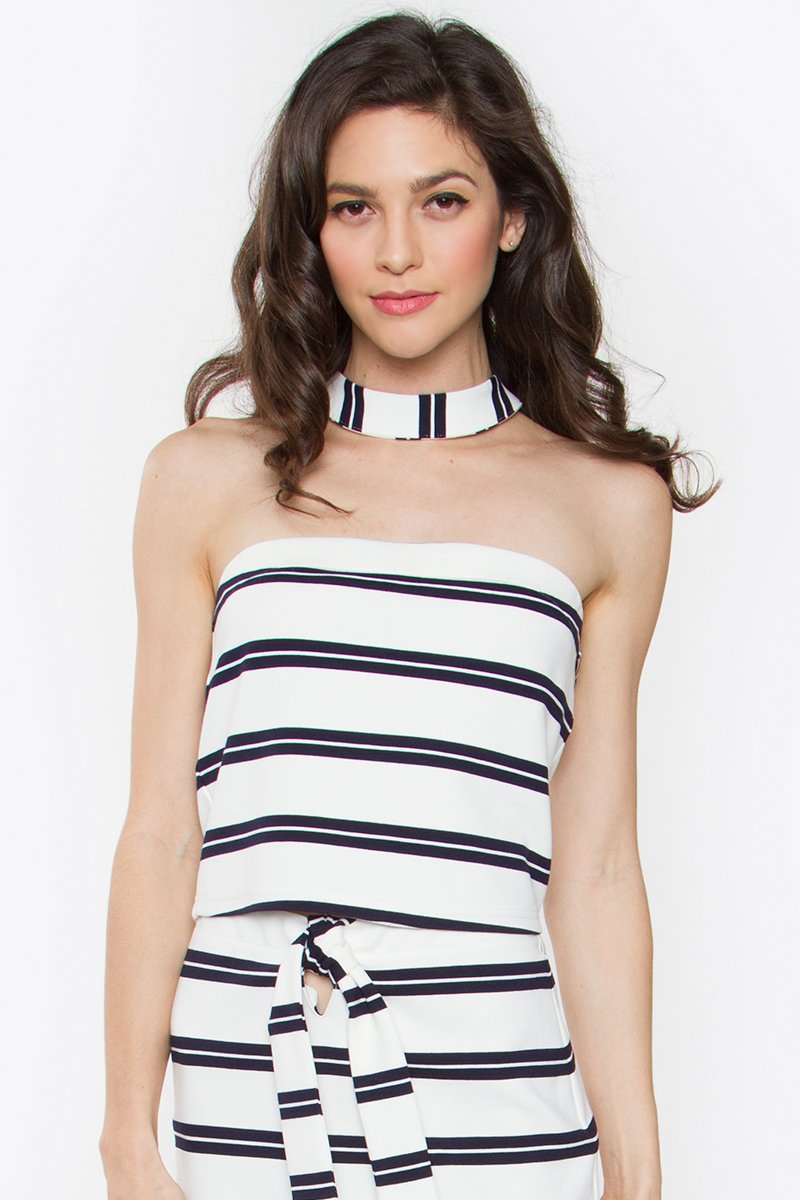 Anise Striped Crop Top