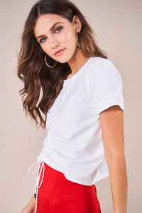 Tucson Drawstring Knit Crop Top
