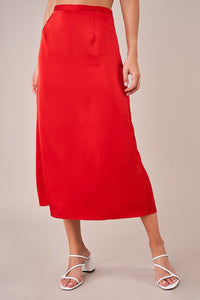 Normani Satin Midi Skirt