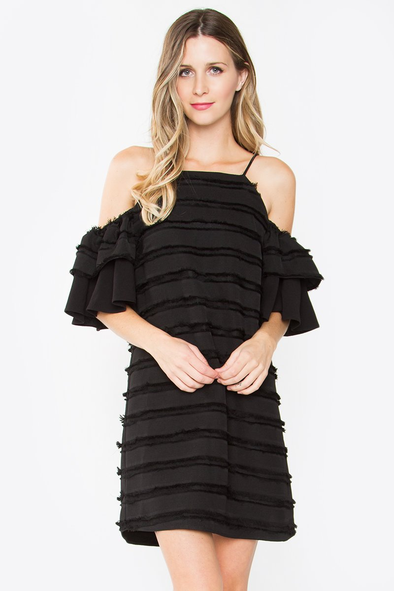 Melina Fringe Cold Shoulder Dress