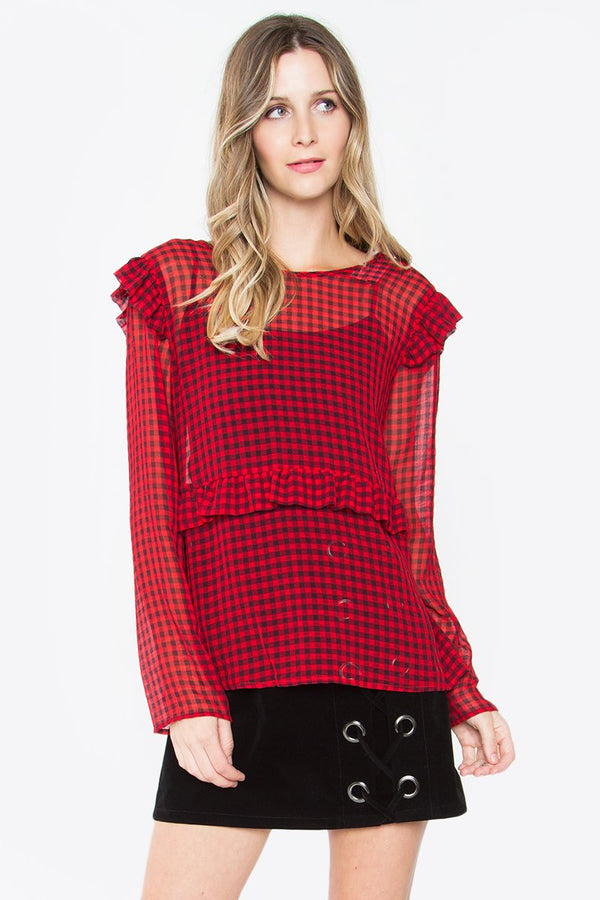 Leonor Red Plaid Mesh Top