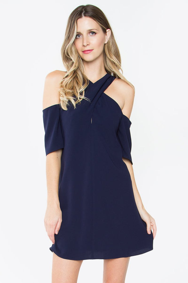 Savoy Halter Cold Shoulder Dress